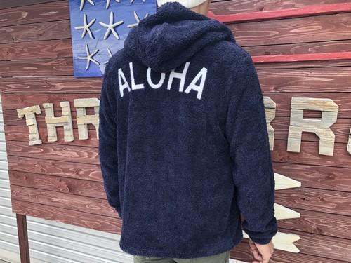 ALOHA ボア ZIPパーカー(navy)