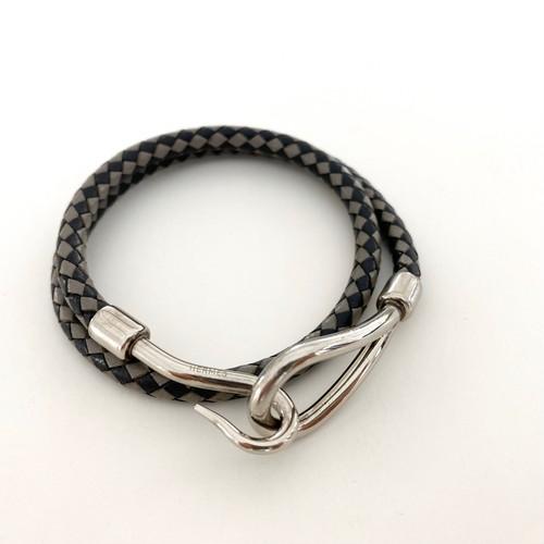 HERMES leather bracelet -JUNBO- double tour braid black×gray