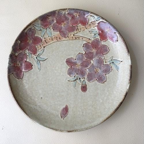 手づくり陶芸 いっちん描き絵皿 桜  Pottery Icchin painted plate 'Sakura'