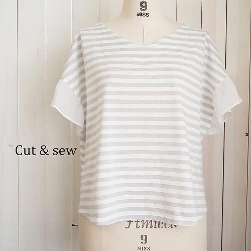 【M】【L】クールコットンラメボーダーTシャツ