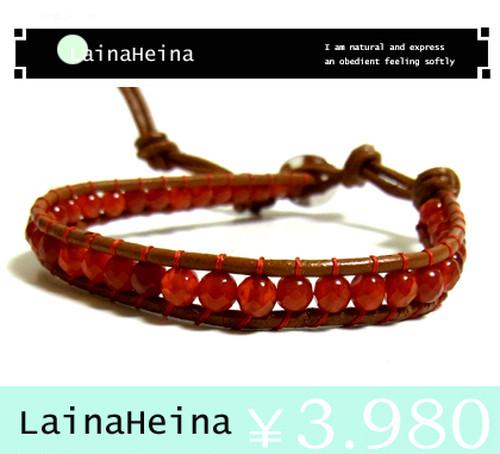 LainaHeina/カーネリアン&シルバー925ブレスレット:16cm?21cm