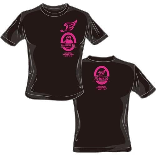 ハヤブサ×串猿 コラボレーションTシャツ (黒body×ピンクprint)