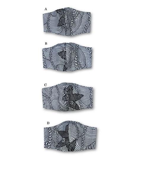 ML47 浴衣リメイクナミノマスク(Lサイズ・紺白)