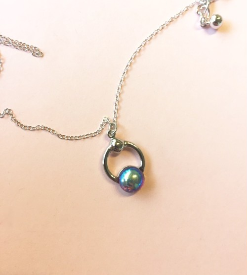 Vintage glass Ring Necklace #1770 gold ヴィンテージガラスリングネックレス/ゴールド
