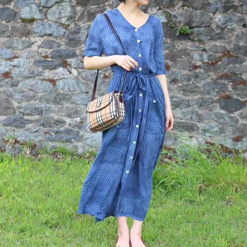 USA VINTAGE CHECK PATTERNED HALF SLEEVE ONE PIECE/アメリカ古着チェック柄半袖ワンピース
