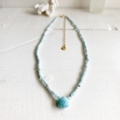 Larimar maron cut beads necklace