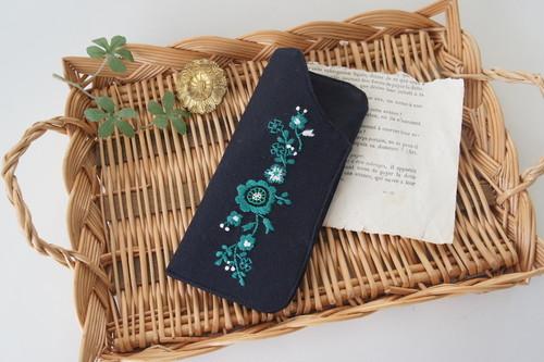 刺繍のメガネケース(グリーン)
