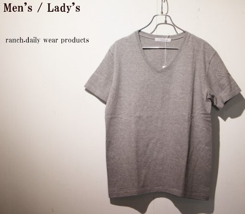 ranch.daily wear products 度詰め天竺半袖Vネック(GRAY) 【Men's】