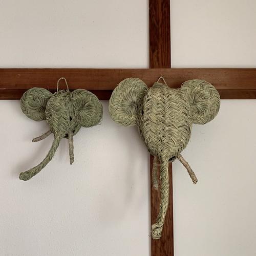 ラタンのアニマルヘッド ゾウL L モロッコの手しごと品