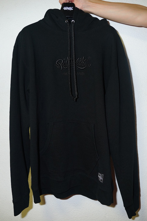 "Rakugaki ""MAIN LOGO"" Embroidery Hoodie Black × Black"