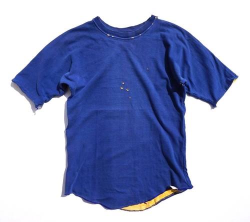 1970's USA製 リバーシブルTシャツ ワイドスリーブ ブルー×イエロー 表記(M) ダブルフェイス