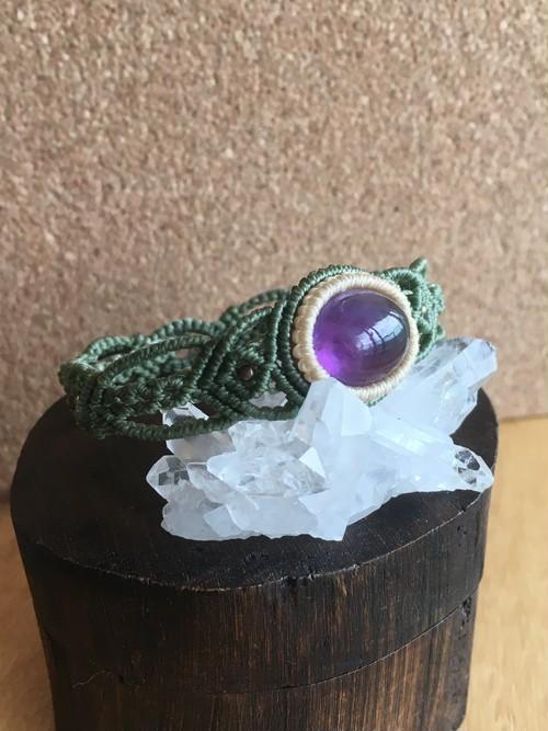 【天然石・マクラメ編み】アメジストのブレスレット
