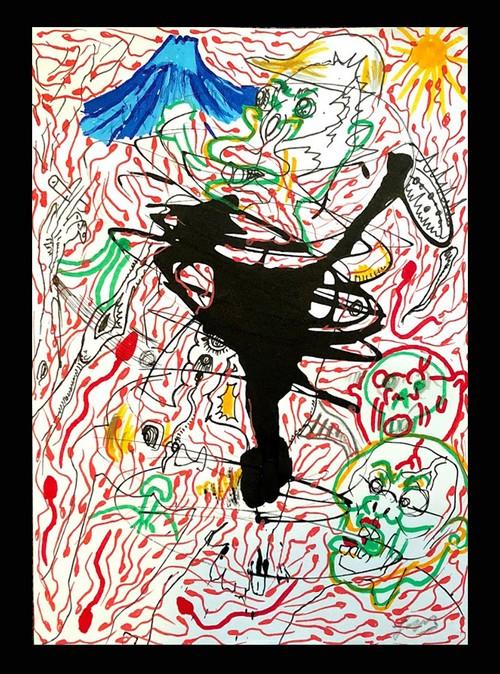 精子イラストドローイング原画『太陽と精子と…』B6