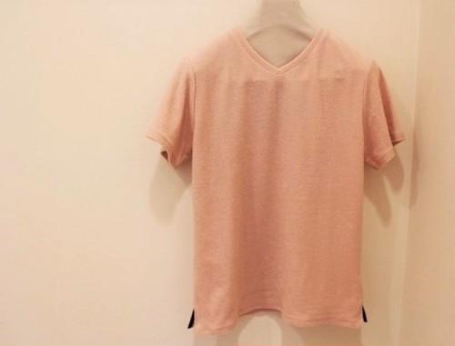 timone V-neck Pile T-shirt Pink