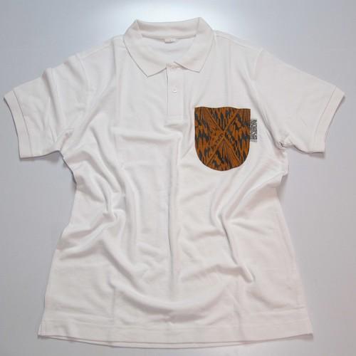 ポロピカルシャツ ホワイト×オオゴマダラ橙
