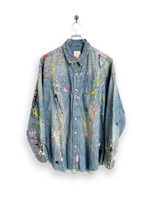 6.5oz Denim Western Shirt / splash paint
