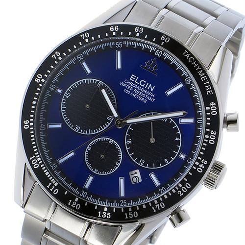 エルジン ELGIN クロノ クオーツ メンズ 腕時計 FK1401S-BL ブルー ブルー