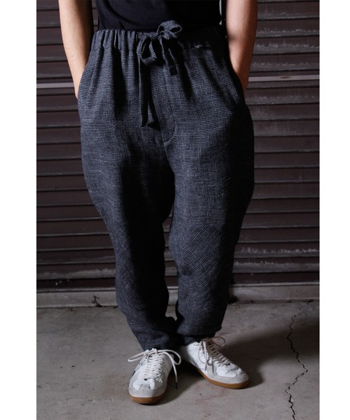 Linen Wool Knee Change Pants -charcoal <LSD-BJ3P2>