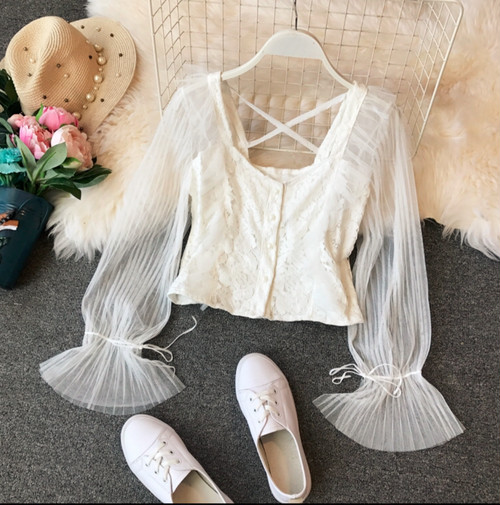 lace up tulle tops 3color