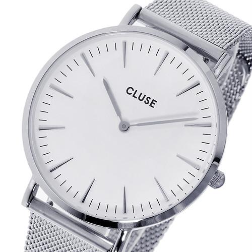 クルース CLUSE ラ・ボエーム メッシュベルト 38mm レディース 腕時計 CL18105 シルバー/ホワイト ホワイト