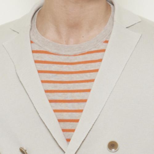 ボーダー柄半袖クルーセーター