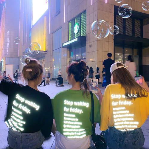 【トップス】ファッションストリート系春夏スパンコールアルファベット半袖Tシャツ