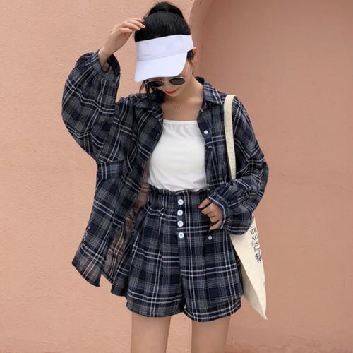 【即納♡】ランタン袖チェックシャツセットアップ 7069