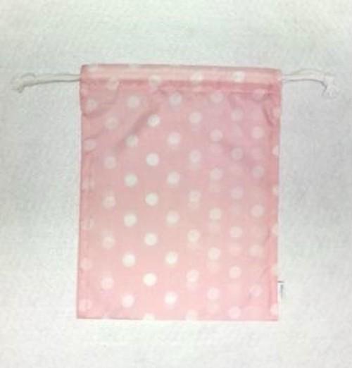 携帯用シューズ袋(ハーフサイズ) ドット柄 ベビーピンク