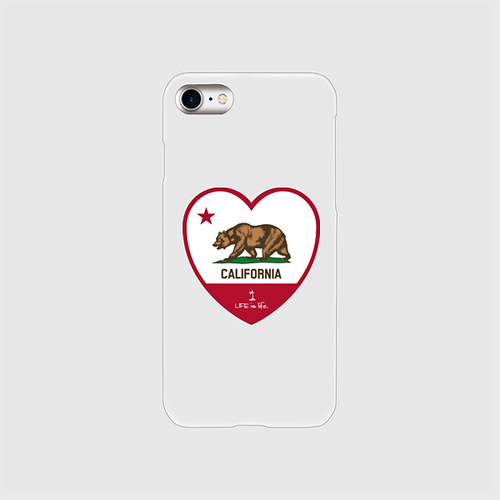LIFE is life ハートCALIFORNIA FLAGクリアスマホケース 各iPhone Plus、Android L用 送料無料!