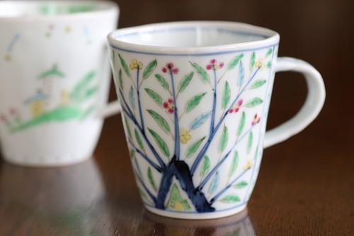 藍水 木の葉草花 マグカップ(小) うつわ藍水 波佐見焼