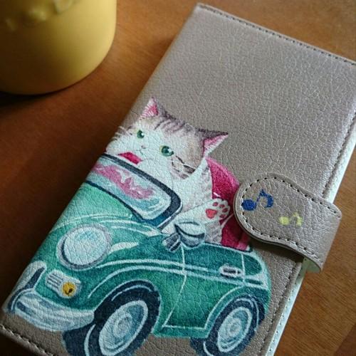 手帳型スマホカバー スマホケース*iphone・Android*猫*猫と車*カラーバリエーション《Drive》