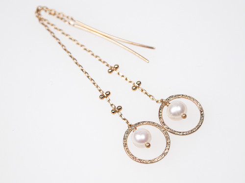 K10 Halo Moon Pearl Earrings