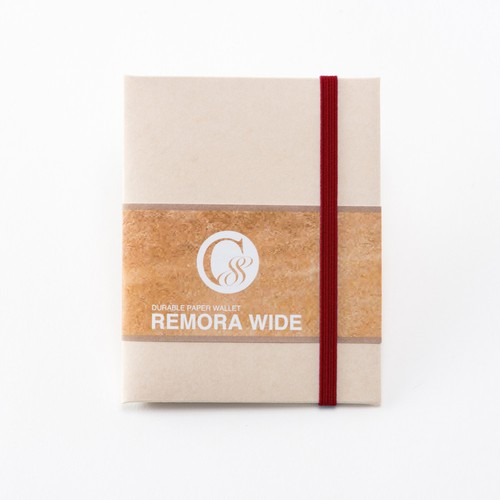 """Durable Paper Wallet """"REMORA Wide"""" / Ivory&Red"""
