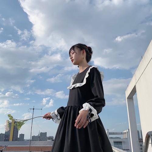 【ワンピース】レトロスウィート学園風スカタップスリーブAラインワンピース