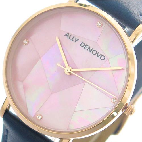 アリーデノヴォ ALLY DENOVO 腕時計 レディース 36mm AF5003-9 GAIA PEARL クォーツ ピンクシェル ネイビー ピンクシェル