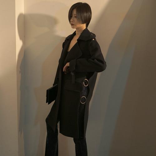 オータムカラーウールコート ブラック 秋物 ヨーロピアン ILIAD7575725