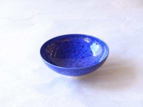 清水焼 花結晶 瑠璃 平茶碗