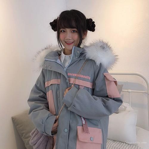 【アウター】2019韓国系スウィート学園風ゆったり配色ポケット切り替えダウンコート