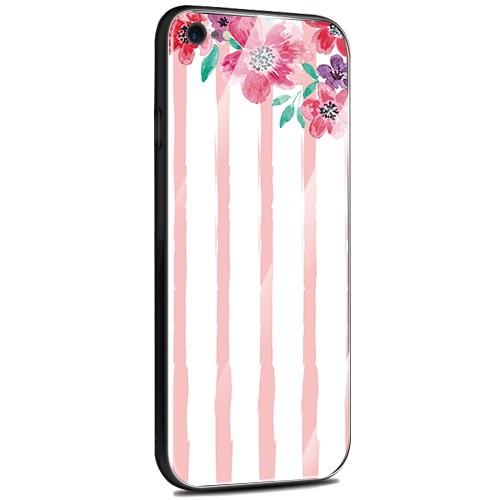 Jenny Desse Samsung Galaxy S9 Plus ケース カバー 背面強化ガラスケース  背面ガラスフィルム シリコンハイブリッドケース 対応 sim free 対応 花とストライプ(赤)