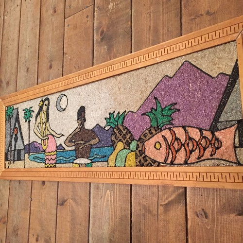 "Mid Century ""Hawaii"" Gravel Art Wallhanging"