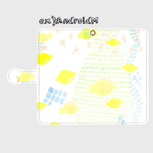 V1「泳ぐレモンと飛ぶさかな」手帳型スマホケース大