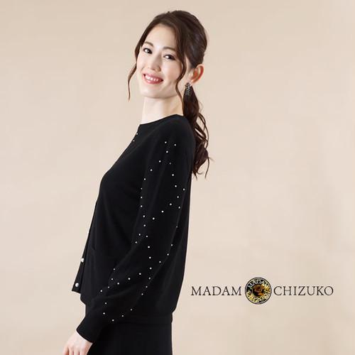 MADAM CHIZUKO / パールビーズ編込みV衿カーディガン / カシミヤ100%(イタリア糸使用)