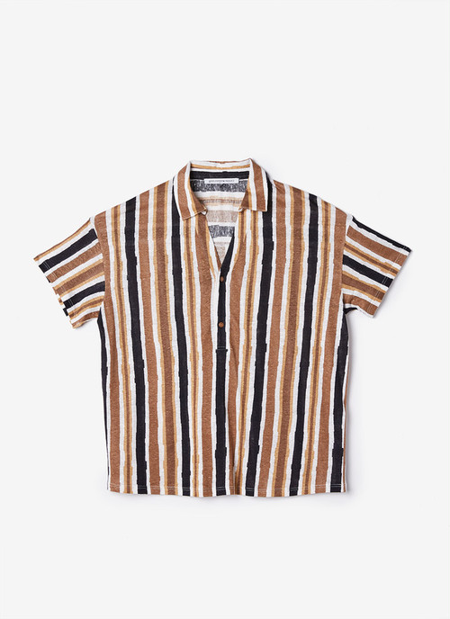 LINEN POLO SHIRT WITH STRIPED PRINT