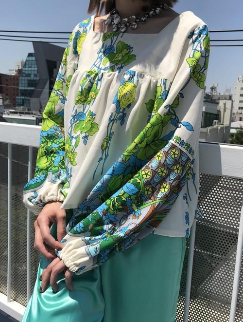 70s handmade white bird floral tops ( ヴィンテージ  ホワイト ハンドメイド  花柄 トップス )