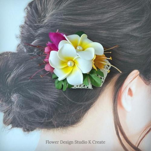 プルメリアとブーゲンビリアのヘアクリップ:C 髪飾り トロピカルフラワー 南国 フラ フラダンス