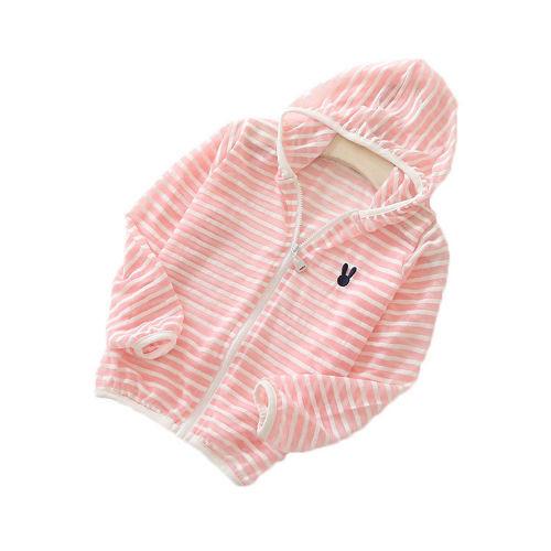 おしゃれボーダー☆キッズ カーディガン ラッシュガード ( ピンク100cm)