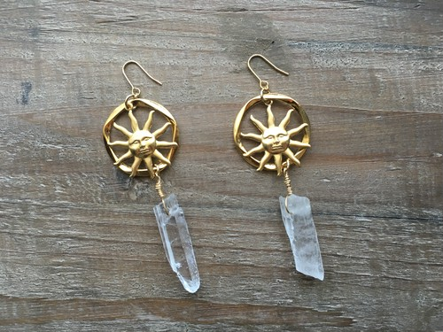 再販売 Gold circle x sun crystal earrings