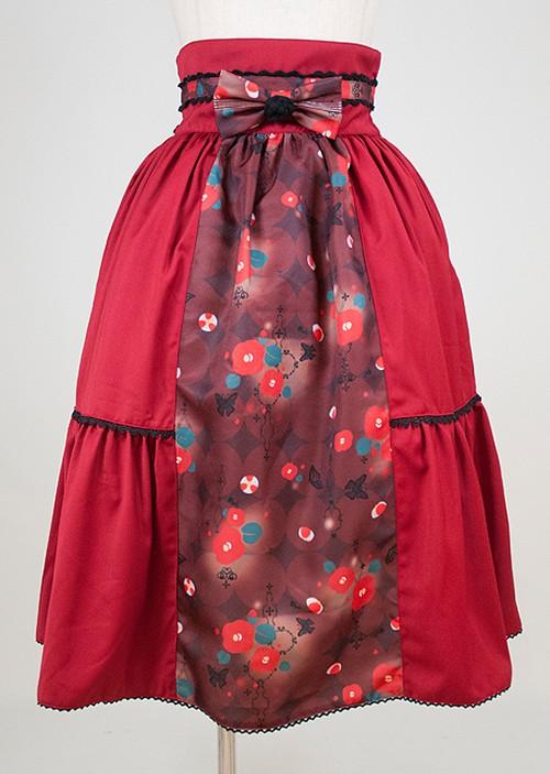 gouk雅  夜幻椿柄帯スカート  赤  GGD28-S905  RD/M