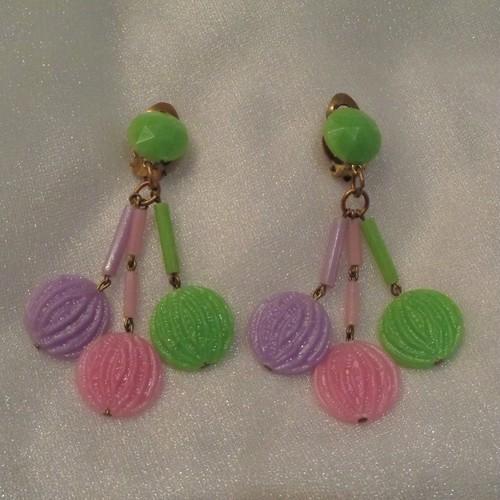 60`s pastel collor earrings 60年代パステルカラーイヤリング