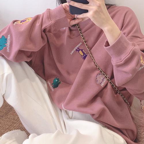 【トップス】韓国系カートゥーン刺繍ランタンスリーブラウンドネックパーカー
